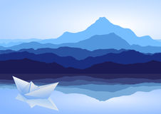 Blue mountains, lake and paper ship Royalty Free Stock Photos