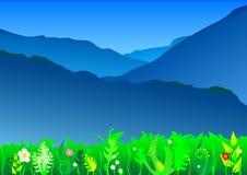 Blue mountains landscape. Vector background: blue mountains landscape and meadows Stock Image