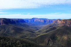 Blue Mountains landscape blue haze by vast view. The landscape and its vastness of the Blue Mountains (Australia) - given that name due to the blue Royalty Free Stock Photography