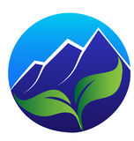 Blue mountains and leafs logo Royalty Free Stock Photo