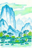 Blue mountains, painting Royalty Free Stock Photo