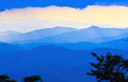 Blue mountains silhouette. Sunset and silhouette of great smoky mountains off blue ridge parkway north carolina royalty free stock photography