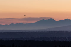 Blue Mountains silhouettes during golden sunset Royalty Free Stock Image