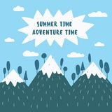 Blue mountains. Sticker and postcard illustration. Summer time, adventure time text. Geometric abstracted travel vector of mountains with snow peaks, hills Stock Photography