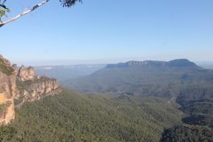 Blue Mountains Threes Sisters New South Wales, Australia. Natural landscapes of the Threes Sisters and View on the Blue Mountains Royalty Free Stock Photo