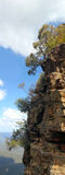 Blue Mountains : Trees on high rock. With blue sky and clouds stock photography