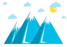 Blue mountains, snow, clouds and sun stock illustration