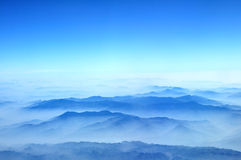 Blue mountains. View from airplane flight  Hanoi to Bangkok Stock Image