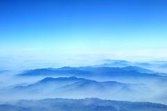 Blue mountains. View from airplane flight  Hanoi to Bangkok Stock Image