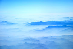 Blue mountains. View from airplane flight  Hanoi to Bangkok Stock Images