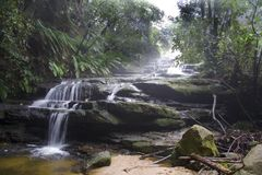 Blue Mountains Waterfall in Mist Royalty Free Stock Photo