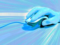 Blue mouse background. Computer concept illustration; optical mouse in the hand; blue light zoom stock illustration