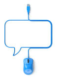 Blue mouse and cable in the shape of speech bubble. 3D illustration Royalty Free Stock Photos