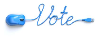 Blue mouse and cable in the shape of Vote word vector illustration
