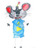 Blue mouse with number one. child drawing Royalty Free Stock Images