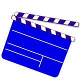 Blue movie clap board. Illustration of a blue movie clap board isolated on white background Stock Photography