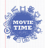 Blue movie icon set Stock Image
