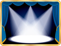 Blue movie spots. Horizontal empty stage with blue curtain and three spots Royalty Free Stock Images