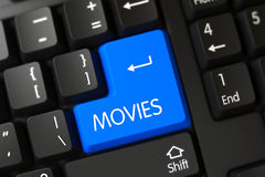 Blue Movies Keypad on Keyboard. 3D. Computer Keyboard with Hot Button for Movies. 3D Illustration Royalty Free Stock Photo