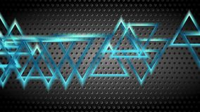 Blue moving shiny triangles on dark perforated background. Seamless loop. Video animation Ultra HD 4K 3840x2160 stock video footage