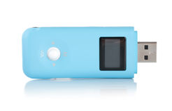Blue MP3 player. Isolated on white background Royalty Free Stock Images
