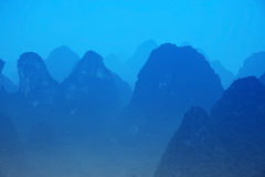 Blue Mt - Karst mountains at Li river Stock Photos