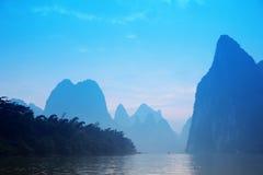 Blue Mt - Karst mountains at Li river Stock Photos