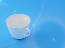 Blue mug. Whitw mug on the blue Stock Photo