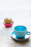 Blue mug and cookies Royalty Free Stock Images