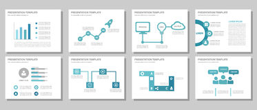 Blue multipurpose presentation template flat design Stock Image
