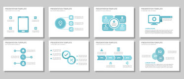 Blue multipurpose presentation template flat design Royalty Free Stock Image