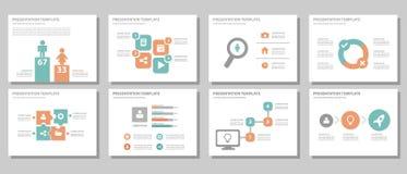 Blue multipurpose presentation template flat design Stock Photos