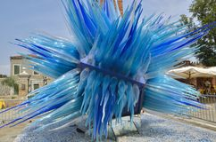 Blue murano glass sculpture Stock Photos