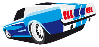 Blue muscle car. Vectorial image of blue muscle car Royalty Free Stock Images