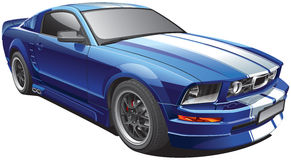 Blue muscle car Stock Image