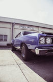 Blue Muscle Car Outside Photo Crafts Building Stock Image