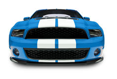 Blue Muscle Car. A photograph of a blue muscle car, isolated on white. clipping path on vehicle. See my portfolio for more vehicle images royalty free stock photography