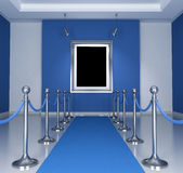 Blue museum. Museum with blue  carpet and barrier rope- rendering Stock Photo