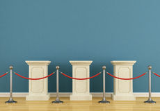 Blue museum with pedestal. Blue museum with  empty pedestal and barrier rope-rendering Royalty Free Stock Photos