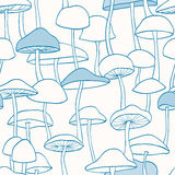 Blue Mushroom Pattern Stock Photography