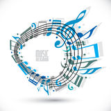 Blue music background with clef and notes, music sheet in rounde Stock Images