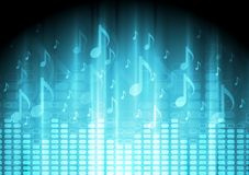 Blue music background with equalizer and notes Royalty Free Stock Images
