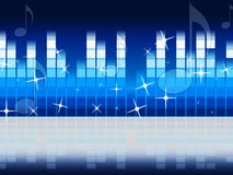 Blue Music Background Shows Melody Rock Or Tune. Blue Music Background Showing Melody Rock Or Tune Stock Images