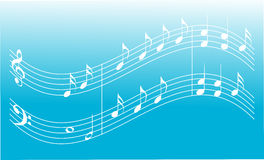 Blue music background. With treble clef base clef and notes Stock Photo