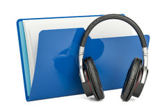 Blue music computer folder with headphones, 3D rendering. On white background Royalty Free Stock Photo