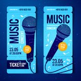 Vector illustration blue music concert ticket design template with microphone and cool grunge effects in the background. Blue music concert ticket design stock illustration