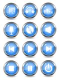 Blue music glossy icons Stock Images