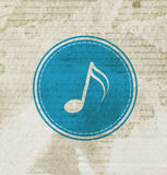 Blue music note on grunge paper Stock Photo