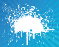 Blue Music Sample Text. Blue Grunge Music Illustration Splatter Royalty Free Stock Images