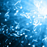 Blue musical background. With notes Stock Image
